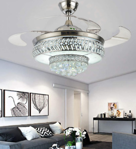 Silver Retractable LED Ceiling Fan Light Remote Control Crystal Chandelier 42