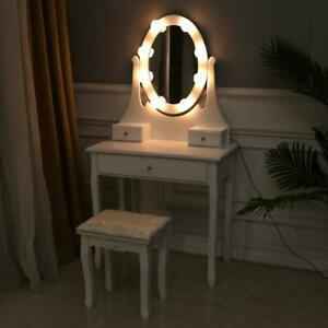 10 LED Vanity Table Set with Lighted Mirror Makeup Table Stool Stylish Dressing