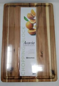NEW CenterPointe Chopping Block Cutting Board Reversible Acacia Wood Oiled