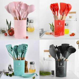 Silicone Beech Spoon Spatula Colander Kitchen Utensils Cooking Tool