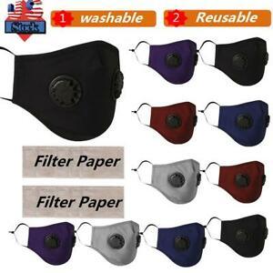 1/2/3X Reusable PM 2.5 Cotton Face Cover Activated Carbon With Filter Washable