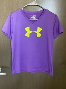 Girls Under Armour Loose Fit T Shirt Purple w Lime Logo Size Youth XL Used $13.99