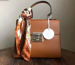 DEUX PECHES Italian Leather Amalfi Collection Handbag with Scarf Cognac