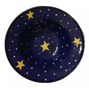 Golden Rabbit Blue With Stars Enamelware Salad/Soup/Cereal/Decorative Bowl NEW