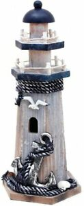 Wooden Lighthouse Decor 10.25 Inch Decorative Nautical Lighthouse Rustic Ocean $27.99