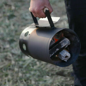 Barbecue BBQ Chimney Starter Charcoal Grill Steel Rapid Quick Fire Lighter Black