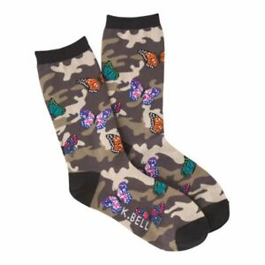 K.Bell Camouflage With Butterfly Socks Cotton Blend Ladies Crew Black Socks New