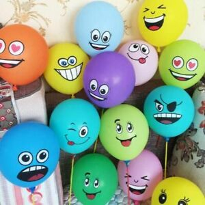 Cute Printed Big Eyes Smiling Face Latex Inflatable Air Balloons For Kids 10pcs