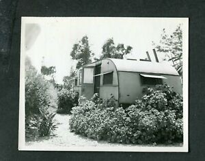 Vintage Photo Camping in Geraniums Travel Trailer Mobile Home 408143