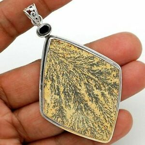 Natural Psilomelane Dendrite German 925 Sterling Silver Pendant Jewelry