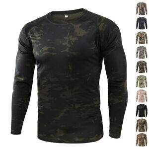 ESDY Mens Tactical T shirt Army Long Sleeve Quick Dry Shirts Military Camouflage $16.99
