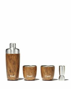 S'WELL Collection Teak wood 4 pc Barware Set Tumblers Gobelets Cocktail Shaker