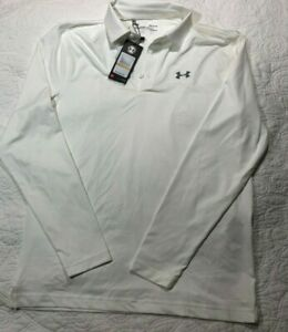 Under Armour Men's Polo Golf Long Sleeve Small Color White Loose Fit,1299771 100 $29.99