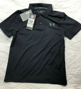 NEW Under Armour NWT Boys Size Small Performance Polo Golf Collared Shirt Black $24.99