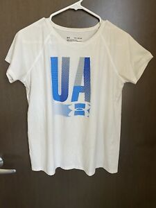 Girls Under Armour Loose Fit T Shirt w Blue Gray Logo Size Youth XL Used $9.99