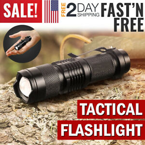 Tactical Police Flashlight LED Torch Light Military Outdoor Hiking Camping Lamp