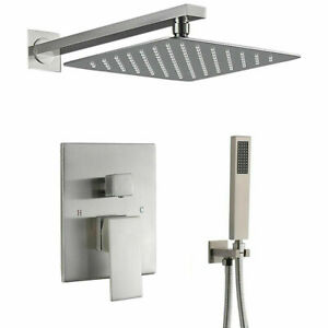 Shower Faucet System Set Brushed Nickel 10 inch Rainfall Shower Head Mixer Tap