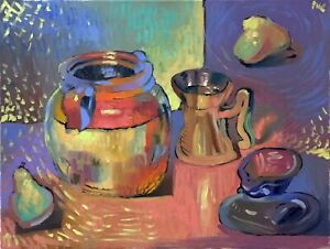 Fruit Still Life Abstract Oil Painting 18quot;x24quot; Original Signed on Canvas