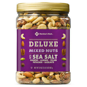 Member#x27;s Mark DELUXE Mixed Nuts With Sea Salt 34 oz. NEW. $17.79
