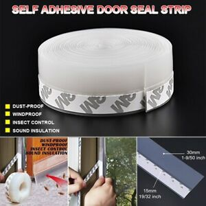 16FT/5M Door Seal Strip Weather Stripping Self Adhesive Sweep Bottom Stopper 1pc