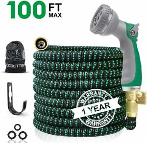 Garden Water Hose Expandable Double Latex Core 3/4'' Solid Brass Connector