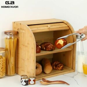 Bamboo Bread Box Double Layers Big Drawer Bins With Cutting Food Containers Kitc