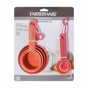 Farberware Professional 9 Pc Easy Read Measuring Cups and Spoons Set Coral Ombre