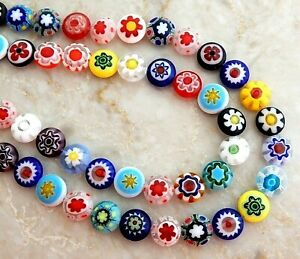 40 Millefiori Glass 10mm Flat Round Puffed Coin Colorful Mix Multicolor Beads
