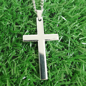 Simple Stainless Steel Silver Cross Pendant Necklace for Men Women Chain 20quot;