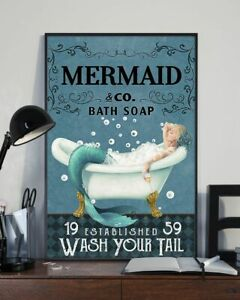Mermaid Co Bath Soap Wash Your Tail Art Print  Wall Decor Poster No Frame
