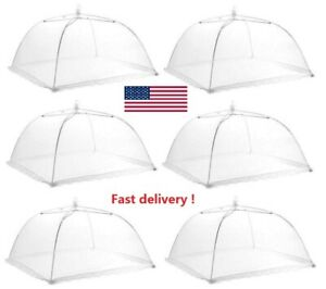 6pcs / Set Protective Food Cake BBQ Covers Insect Folding Mesh Umbrella Barbecue