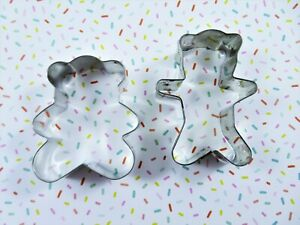 Metal Cookie Cutters 2 Teddy Bears Unique Small Rolled Edge Sturdy Quality Made