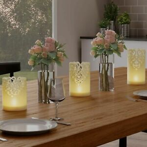 Set of 3 Real Wax Flameless LED Light Candles Remote and Timer Lacey Laser Cut