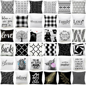 Cushion COVER Black White Soft Double Sided Decorative Throw Pillow Case 18x18quot; $7.86