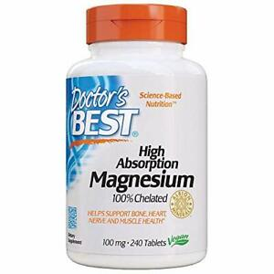 Doctor's Best High Absorption Magnesium Glycinate Lysinate 100 mg, 240 Tablets