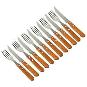 12 Piece Stainless Steel Carving Steak Knives and Forks 6 Person Cutlery Set