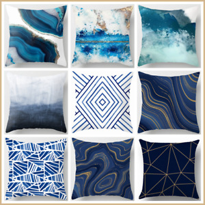 Cushion COVER Teal Blue White Soft Home Decor Abstract Throw Pillow Case 18x18quot; $7.86