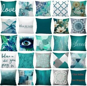 Throw PILLOW COVER Teal Blue Decorative White Soft Abstract Cushion Case 16x16quot; $7.86