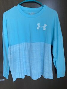 Girls Under Armour Aqua Blue Long Sleeve Shirt Loose Fit Size Youth XL Used $14.99
