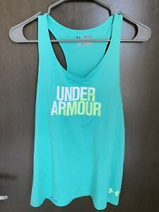 Firls Under Armour Fitted Tank Top Teal Yellow Size Youth XL Used $13.99