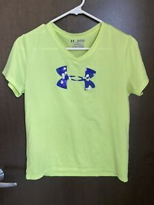 Girls Under Armour T Shirt Yellow w Purple Logo Loose Fit Size Youth XL Used $12.99