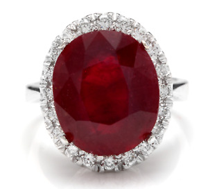 13.30 Carats Natural Red Ruby and Diamond 14K Solid White Gold Ring