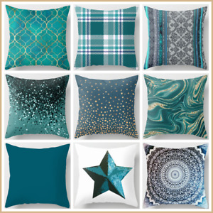 Cushion COVER Teal Blue White Soft Decorative Vintage Throw Pillow Case 18x18quot; $7.86