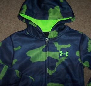 NWT Under Armour FULL ZIP Blue Lime Hyper Green CAMO Hoodie Jacket 4 Boys LOGO $24.99
