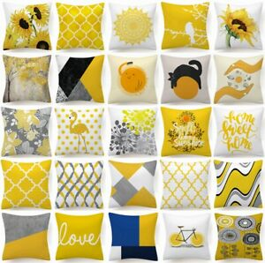 Cushion COVER Yellow White Soft Decorative Gray Sofa Throw Pillow Case 18x18quot; US $7.86
