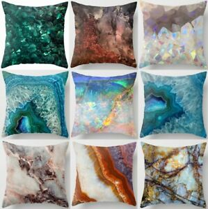 Throw PILLOW COVER Marble Print Blue White Soft Decorative Cushion Case 18x18quot; $7.86