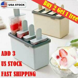 DIY Pop Mold Popsicle Maker Silicone Tray Pan Frozen Ice Cream Mould US