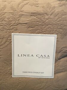 Linea Casa by SFERRA Queen Matelasse Coverlet + 2 Standard Sham Cotton Crochet