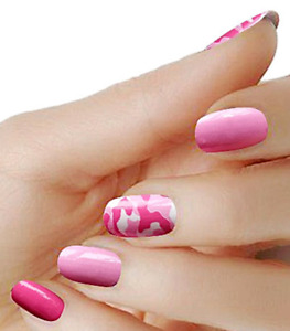 Pink Camouflage color real nail polish strips KCP 1 street art wraps