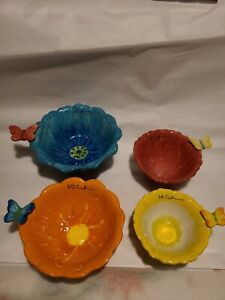 Ceramic baking Colorful Measuring Cups 4 Piece Flower with Butterfly Handle